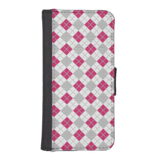 Preppy Pink & Gray Argyle Fuchsia Diamond Pattern iPhone SE/5/5s Wallet Case