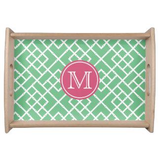 Preppy Pink & Green Bamboo Lattice Monogram Serving Tray