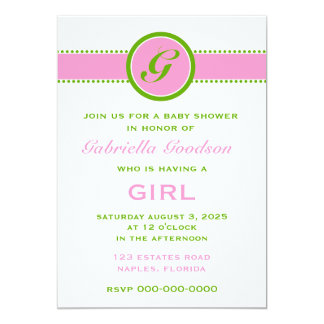 Preppy Pink & Lime Green Monogram Striped 2 Baby Card