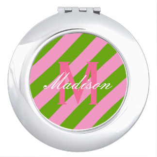 Preppy Pink & Lime Green Striped Travel Mirror