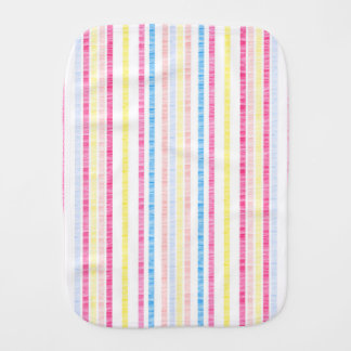 Preppy Pink Rainbow Seersucker Stripes Baby Burp Cloths