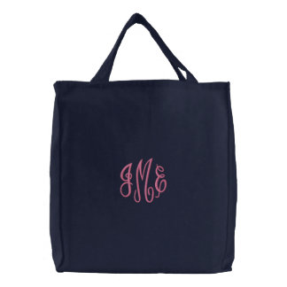 Preppy Pink Script Monogram Embroidered Navy Bag