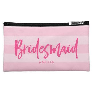 Preppy Pink Stripes Brush Script Bridesmaid Makeup Bag