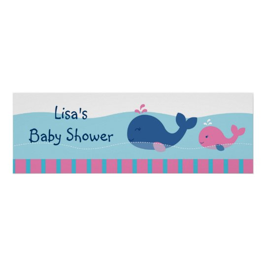 Preppy Pink Whale Personalised Banner Sign