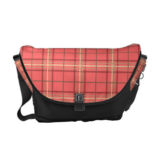 Preppy Plaid Pattern Coral Brown and Black Messenger Bag