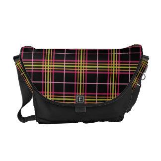 Preppy Plaid Pattern Retro Pink Lime Black Courier Bags