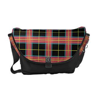 Preppy Plaid Pattern Retro Pink Orange Lime Black Courier Bags
