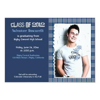 Preppy Plaid Senior Graduation Announcement {Blue}