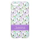 Preppy Purple Green Teal Tennis Personalised iPhone 8/7 Case