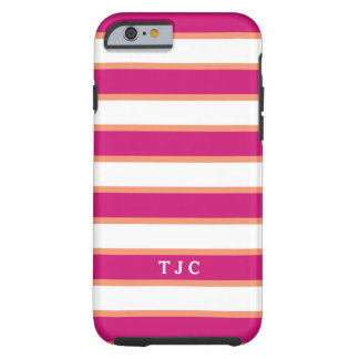 Preppy Raspberry Pink Stripe Monogram Tough iPhone 6 Case