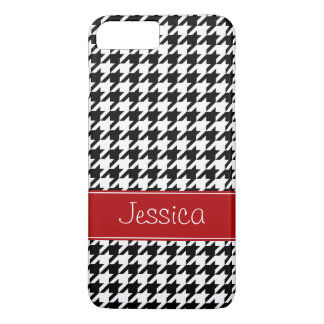 Preppy Red and Black Houndstooth Personalized iPhone 8 Plus/7 Plus Case