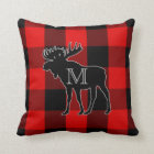 Preppy Red Buffalo Check | Monogrammed Moose Cushion