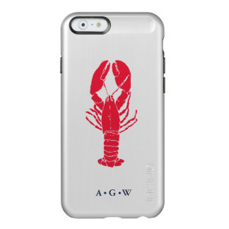 Preppy Red Nautical Lobster Monogram Incipio Feather® Shine iPhone 6 Case