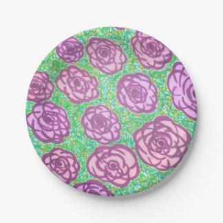 Preppy Rose Garden Floral Print 7 Inch Paper Plate