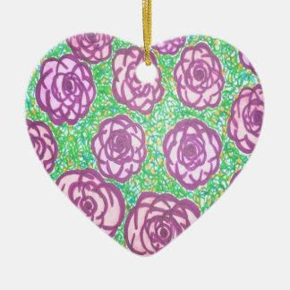 Preppy Rose Garden Floral Print Ceramic Ornament