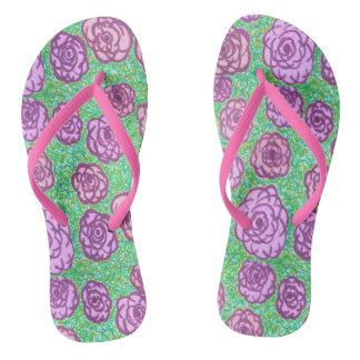 Preppy Rose Garden Floral Print Flip Flops