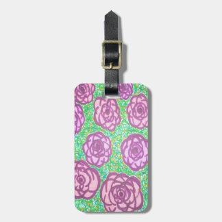 Preppy Rose Garden Floral Print Luggage Tag