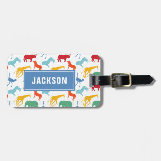 Preppy Safari Animal Personalize Silhouette Boy Luggage Tag
