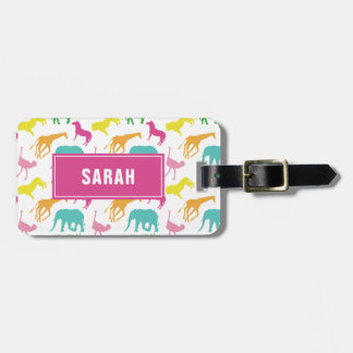 Preppy Safari Animal Personalize Silhouette Girl Luggage Tag