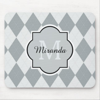 Preppy Soft Gray Argyle Girly Monogram and Name Mouse Pad
