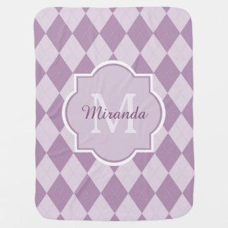 Preppy Soft Purple Argyle Girly Monogram Baby Name Buggy Blanket