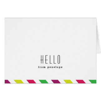 Preppy stripe | Hello folded notecard