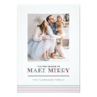 Preppy Stripe Make Merry Christmas Photo Cards