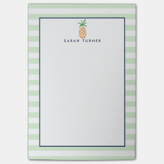 Preppy Stripe Pineapple Personalized Post-it® Notes