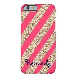 Preppy Stripes in Gold Glitter Barely There iPhone 6 Case