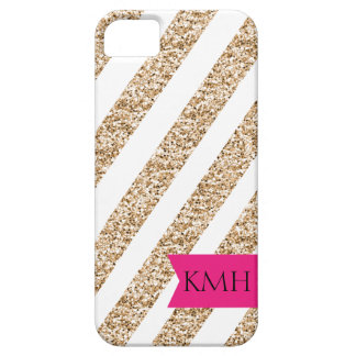 Preppy Stripes in Gold Glitter Case For The iPhone 5