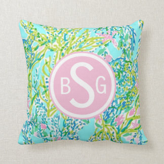 Preppy summer coral nautical pillow