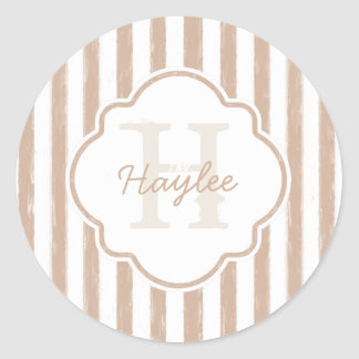 Preppy Tan Painted Stripes Monogram and Name Classic Round Sticker