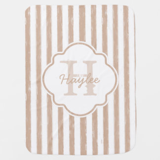 Preppy Tan Painted Stripes Monogram and Name Swaddle Blankets