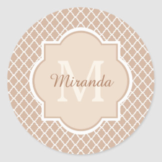 Preppy Tan Quatrefoil Mongogram With Name Classic Round Sticker