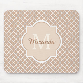 Preppy Tan Quatrefoil Mongogram With Name Mouse Pad