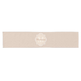 Preppy Tan Quatrefoil Mongogram With Name Short Table Runner