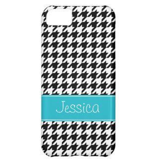 Preppy Teal and Black Houndstooth Personalized iPhone 5C Case