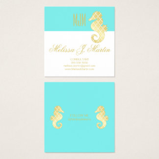Preppy Teal Gold Seahorse Social Media Profile Square Business Card