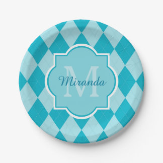 Preppy Turquoise Argyle Girly Monogram and Name 7 Inch Paper Plate