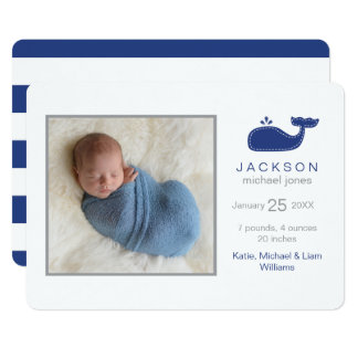 Preppy Whale Photo Birth Announcement, Baby Boy Card