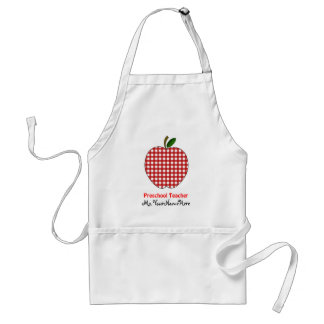 Preschool Teacher Apron - Red Gingham Apple