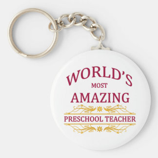 Preschool Teacher Basic Round Button Key Ring