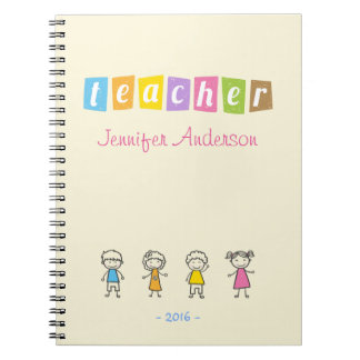 Preschool Teacher Cute Pencil Illustrations Notebook