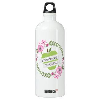 Preschool Teacher Floral Wreath Green Apple Water Bottle