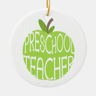Preschool Teacher Green Apple Ornament