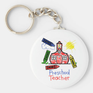 Preschool Teacher Keychain - Schoolhouse & Crayons