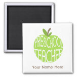 Preschool Teacher Magnet - Green Apple