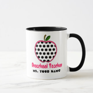 Preschool Teacher Mug - Polka Dot Apple