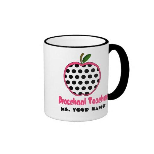 Preschool Teacher Mug - Polka Dot Apple