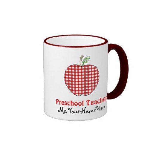 Preschool Teacher Mug - Red Gingham Apple